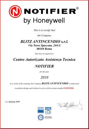 Certificazione CENTRO ASSISTENZA NOTIFIER 2019Certificazione CENTRO ASSISTENZA NOTIFIER 2019